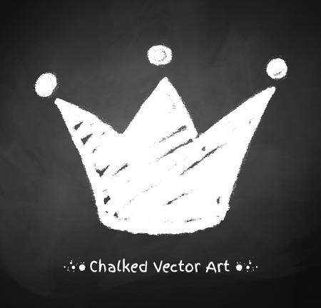 corona de reina: Corona marcada con tiza en el fondo pizarra.