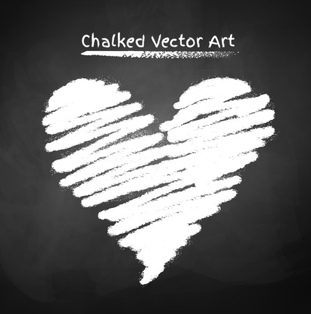 chalk drawing: Vector illustration of chalked heart.