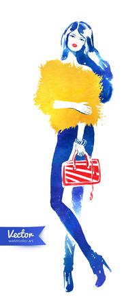 mannequin mode: Fashion model avec le sac. Vecteur mode illustration d'aquarelle. Illustration