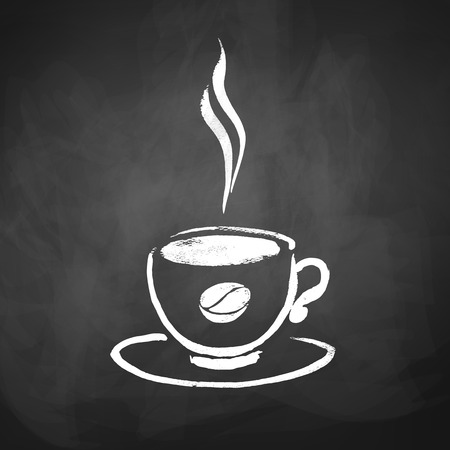 scarp: A cup of coffee with coffee bean. Hand drawn sketch on chalkboard background.