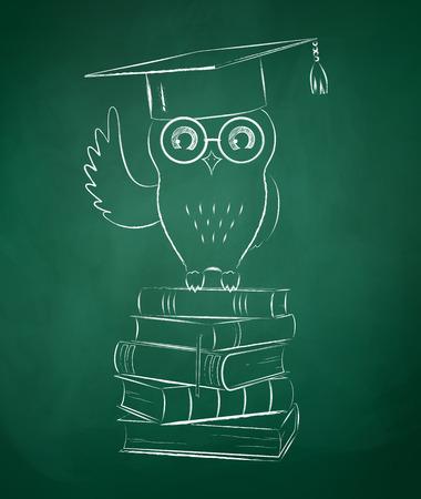 graduation cap: Chalkboard drawing of owl sitting on books.