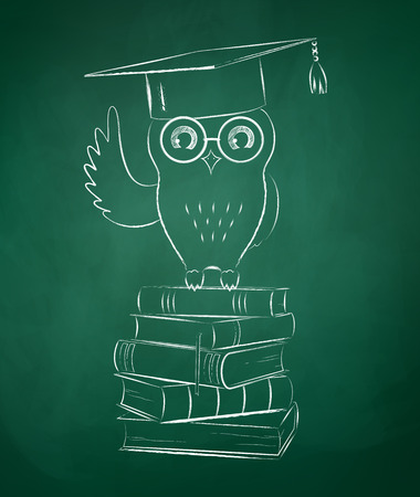 Chalkboard drawing of owl sitting on books.