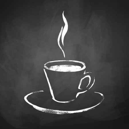 breakfast cup: Cup of coffee with steam. Hand drawn sketch on chalkboard background.