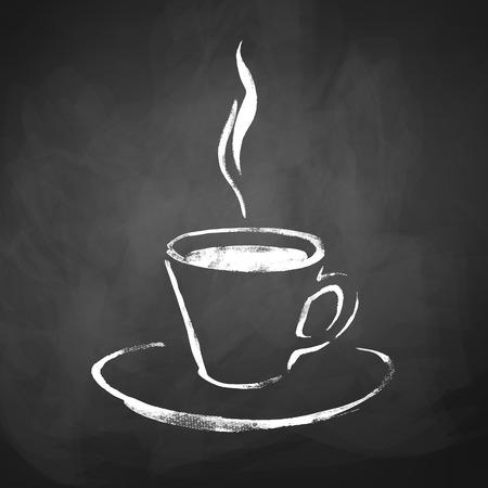 filiżanka kawy: Filiżanka kawy z parą wodną. Ręcznie narysowanego szkic na tablicy tle. Ilustracja