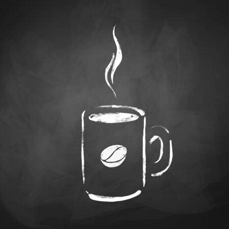 Cup of coffee. Hand drawn sketch on chalkboard background. Vector