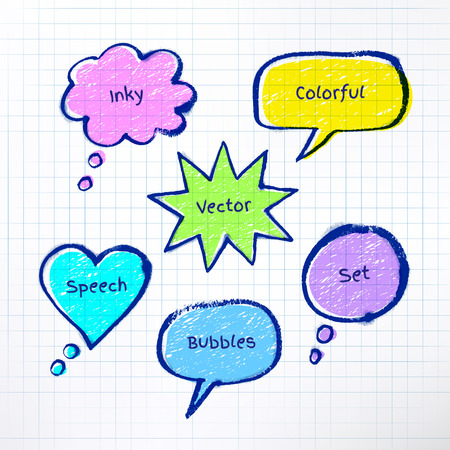 inky: Inky colorful bubble-talks drawn on checkered school notebook background.