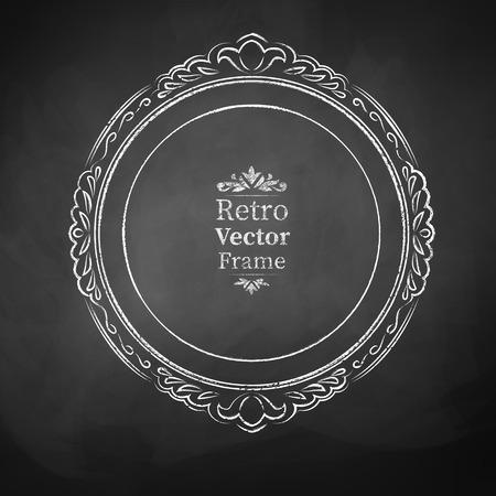 dessin noir et blanc: Round craie cadre baroque vintage. Illustration