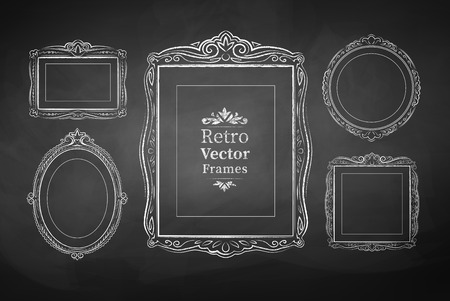 black picture frame: Vector collection of chalked vintage baroque frames.