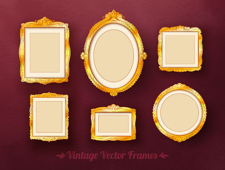 old picture: Vintage baroque golden frames set.