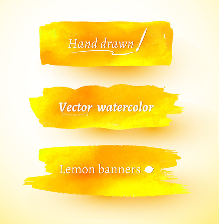 daubs: Yellow hand drawn watercolor vector banners.
