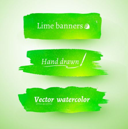 daubs: Green hand drawn watercolor vector banners. Illustration