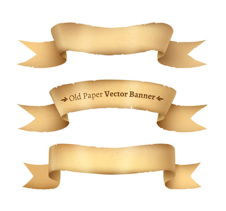 curved ribbon: Vector collection of vintage paper ribbon banners.