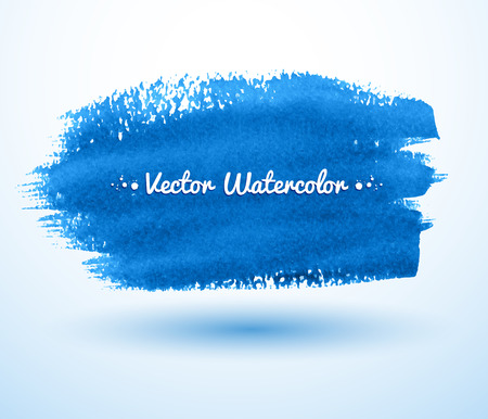 ink stain: Blue watercolor brush stroke banner.