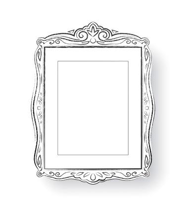 scarp: Line art vector illustration of vintage baroque frame.
