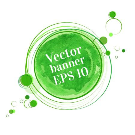 green swirl: Abstract vector grunge watercolor banner. Illustration