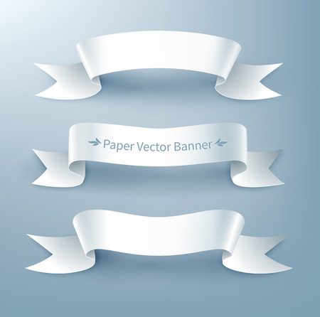 curved ribbon: Vector illustration of paper ribbon banner.