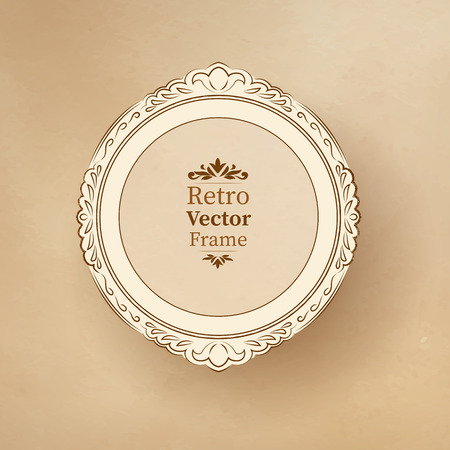 scarp: Round vintage baroque frame on textured background.