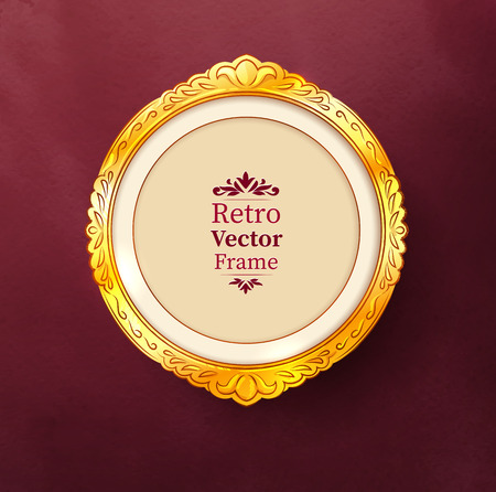 passe: Vector illustration of vintage baroque golden frame.