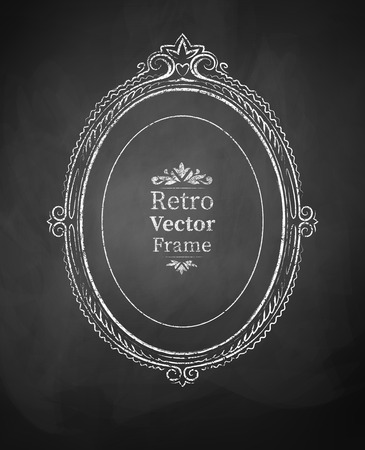 baroque picture frame: Oval chalked vintage baroque frame.