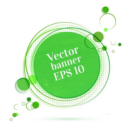Green vector banner with circles. Vector