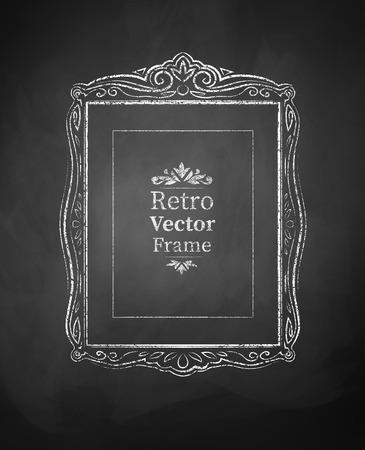 scarp: Grunge chalked vintage baroque frame. Illustration