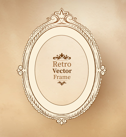 scarp: Elliptical vintage baroque frame on textured background.
