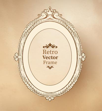 eliptica: Marco barroco vendimia el�ptico en el fondo con textura.