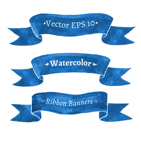 Watercolor set of blue ribbon banners.