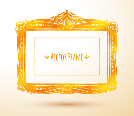 baroque picture frame: Vector illustration of watercolor textured vintage frame. Illustration