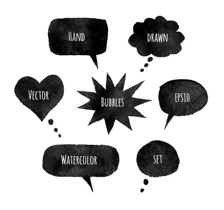 ink illustration: Vector illustration of watercolor speech bubbles. Illustration
