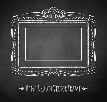 chalk outline: Horizontal rectangle chalked vintage baroque frame.