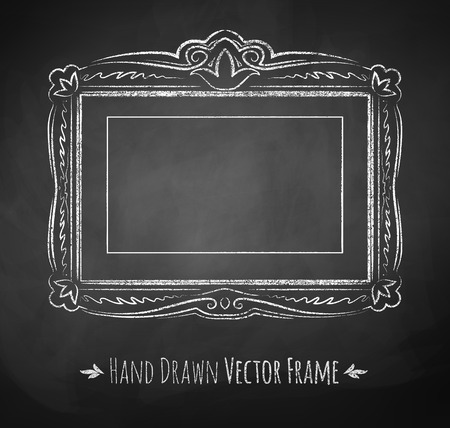 Horizontal rectangle chalked vintage baroque frame.