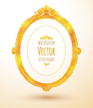oval frame: Watercolor golden oval vintage frame. Illustration