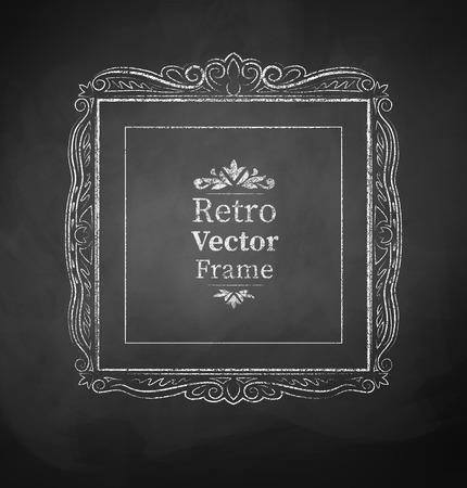 scarp: Vector illustration of chalked vintage baroque frame.