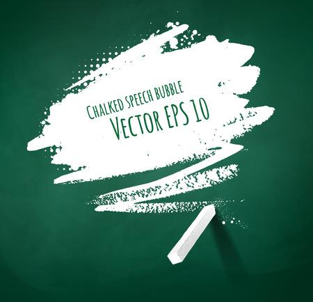 Hand gezeichnet mit Kreide Sprechblase auf grüne Tafel Hintergrund. Standard-Bild - 38389722