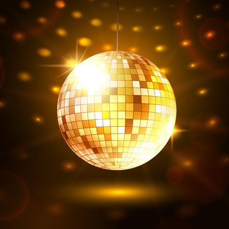 disco parties: Ilustraci�n del vector de la bola de discoteca de oro. Vectores
