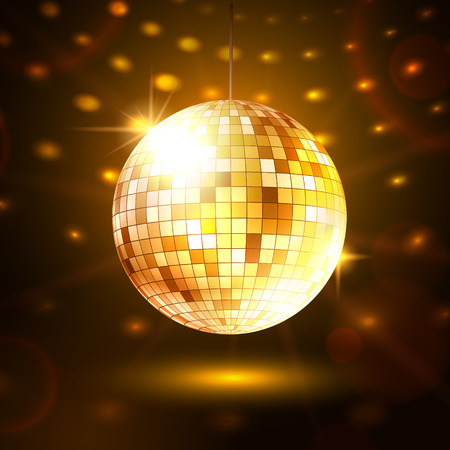 mirror ball: Vector illustration of golden disco ball.