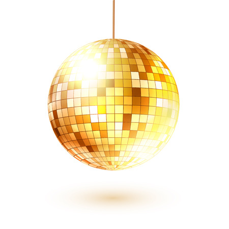 retro disco: Vector illustration of golden disco ball.