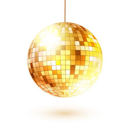 reflection in mirror: Vector illustration of golden disco ball.