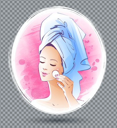 human skin texture: Vector illustration of young girl after bathroom.
