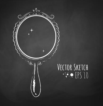 Gekalkt vector schets van vintage spiegel.