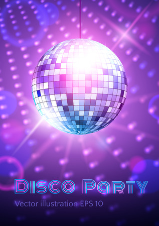 neon light: Disco ball on disco lights background. Illustration