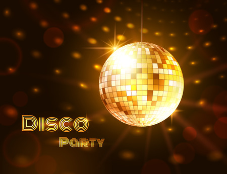 mirror ball: Vector illustration of gold disco ball.