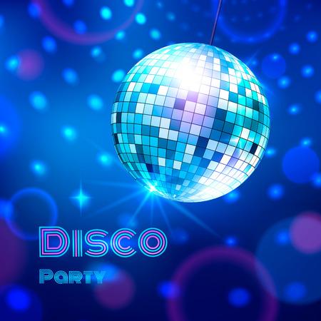 fiestas discoteca: Ilustración del vector de la bola de discoteca que brilla intensamente. Vectores