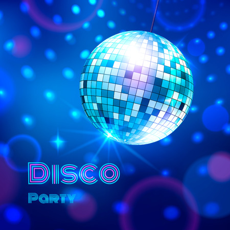 glitter ball: Vector illustration of glowing disco ball. Illustration
