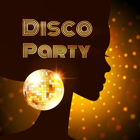 Disco Party Einladung Vorlage mit Silhouette eines Mädchens. Standard-Bild - 38389506