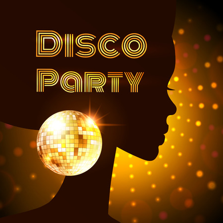 disco backdrop: Disco Party invitation template with silhouette of a girl. Illustration