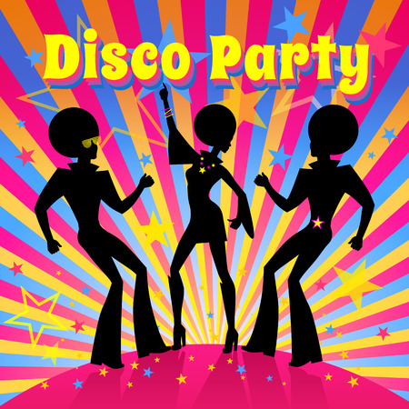 event party: Disco Party invitation template with silhouette of a dancing people. Illustration