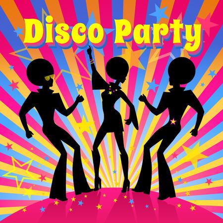festa: Molde do convite do partido de disco com a silhueta de uma dança pessoas.