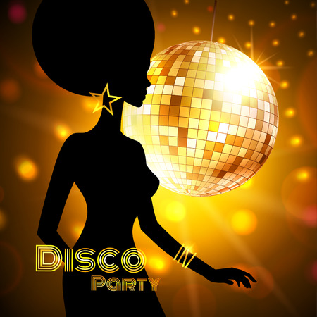 glitter ball: Disco Party invitation template with silhouette of a girl. Illustration